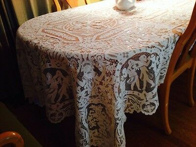 WEDDING WHITE Antique ITALIAN NEEDLE LACE Banquet Tablecloth FIGURAL  FABULOUS!