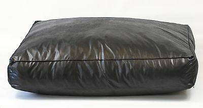 "Dog Bed, Black Faux Leather  8"" Deep, Extra Large, Removable inner, 3 sizes"