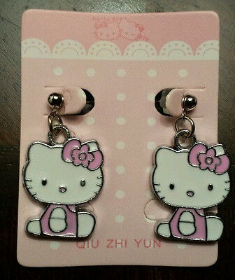 HELLO KITTY CUTE SILVER PLATED W/ PINK & WHITE DANGLE HANGING WITH BOW EARRINGS