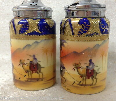 RARE ART DECO CAMEL CHINA HANDPAINTED MADE IN JAPAN SALT SHAKER + LIDDED POT