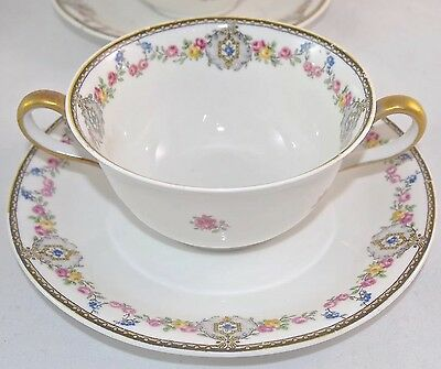 Set of 4 Antique C. Ahrenfeldt Limoges FR Depose Dbl. Handle Cup & Saucers*RARE*