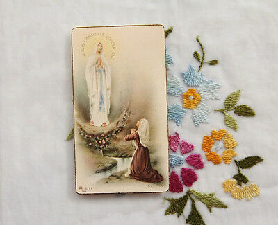Vintage Catholic Holy Card Grotto Apparition OUR LADY OF LOURDES & ST BERNADETTE