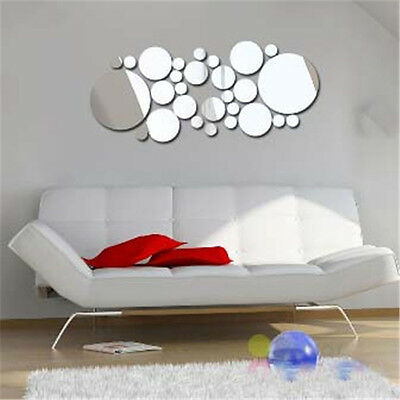 30Pcs Modern DIY Solid Round Circle Mirror Wall Stickers Frame Home Decoration