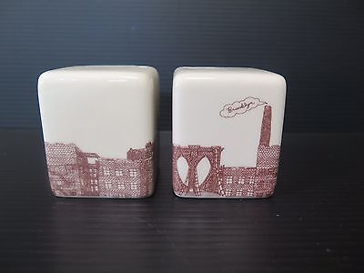 "Porcelain ""Brooklyn"" Souvenir Salt And Pepper Shakers"