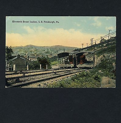 USA S.S. Pittsburgh ELEVENT STREET INCLINE Elevator Cablecar * Vintage 1910s PC