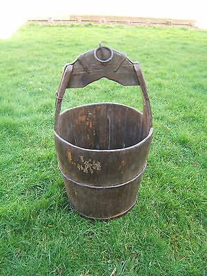 Vintage garden wooden bucket Chinese rice carrier  barrel shape