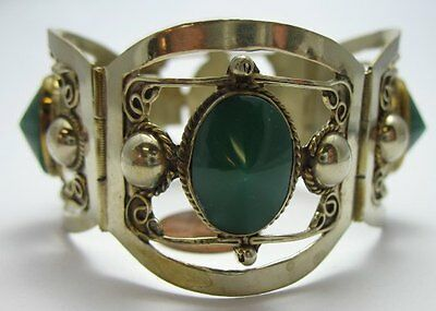 Sterling Silver 925 Green Chrysoprase Bracelet 4-Wide Curved Panels Mexico
