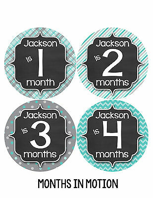 Personalized Baby Boy Monthly Stickers Custom Baby Name Boys Month Sticker 489