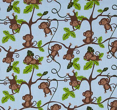 JUNGLE MONKEYS 1 2 3 fabric MONKEYS IN TREES cotton BABY fabric by the yard NEW