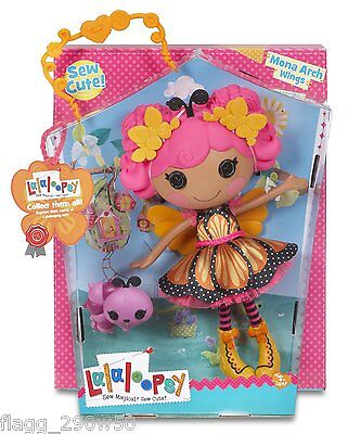 *Lalaloopsy* 13 inch MONA ARCH WINGS FULL-SIZE DOLL- with Pet Caterpillar!!