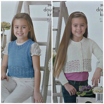 KNITTING PATTERN Childrens Lace Hem Cardigan & Sleeveless Top Cotton DK KC 3904