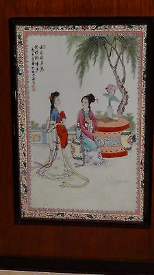 """Antique Early 20C Chinese Porcelain Plaque """"two Young Girls In The Garden """" # 1"""