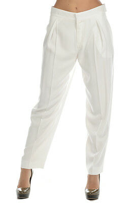 CHLOE' New Woman White Milk Dress Trousers Pants Size 38 ITA made in Italy Sale