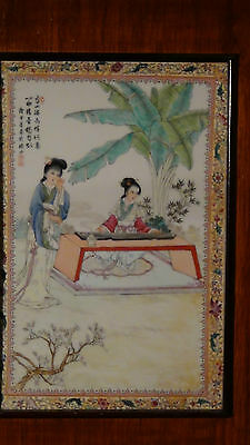 """Antique Early 20C Chinese Porcelain Plaque """"two Young Girls Under Pine Tree"""" #2"""