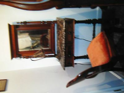 Antique Victorian Solid Walnut Black Marble Vanity Dressing Table with Chair