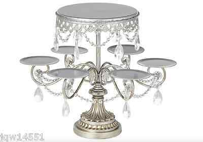Antique Silver and Crystal Cake and Cupcake Stand Wedding party FREE SHIPPING