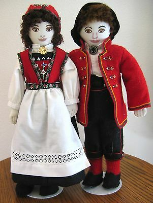 "12"" RARE Hardanger Bunad Cloth Dolls Norway Norwegian Handmade Cloth Scandinavia"