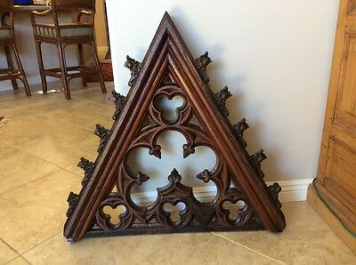 1800s GOTHIC VICTORIAN CHURCH WOOD TRACERY WINDOW