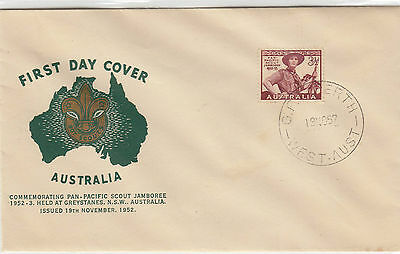 Stamp Australia 3&1/2d brown Scout commemorative on Guthrie generic cachet FDC