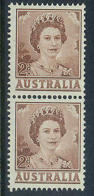 Stamp Australia 2d brown QE2 definitive coil perforated pair MUH