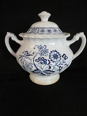 Classic Meakin Blue Nordic Large Covered Sugar Bowl Blue Onion Design
