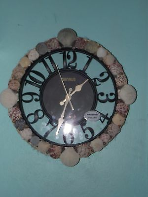"""Handcrafted Round, 13 1/4"""",Sea Shell Wall Clock, With Sisal Rope LQQK!"""