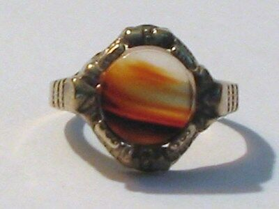 ANTIQUE GOLD TONE STERLING BANDED AGATE  ART DECO RING SZ 5 1/2+