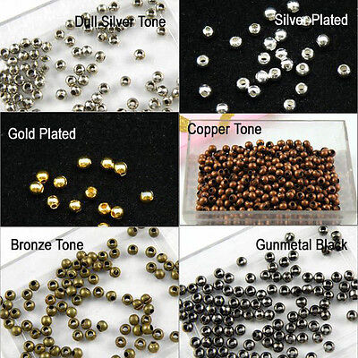 1000pcs 2.4mm Seamless Smooth Round Metal Copper Spacer Beads Jewelry Diy