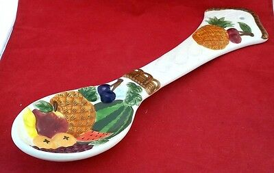 "Mix Fruits Wall Decor 16½"" Spoon ceramic 3-D Pineapple Cherrie Watermelon Grapes"