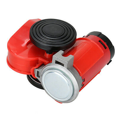 Red 12V 136db Car Motorcycle Truck Dual Tone Loud Compact Air Horn Compressor