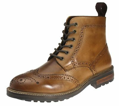 Red Tape Devlin High Quality Cleated Real Leather Lace Up Brogue Mens Boots