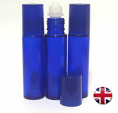 3 X 10Ml Empty Glass Roll On Bottles  Liquids Essential & Perfume Oil Refilable
