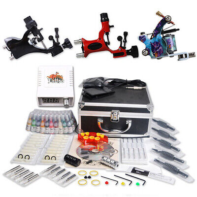 Professional Complete Tattoo Kit 3 Top Rotary Machine Gun 40Color Inks 20Needles