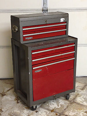 VTG CRAFTSMAN Heavy Duty Tools Rolling Tool Chest 5 Drawers with KEYS
