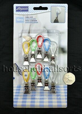 15pc Mini Tea Towel CLIPS Bath Kitchen Dish Cloth Clip On Holder Loop Hanger