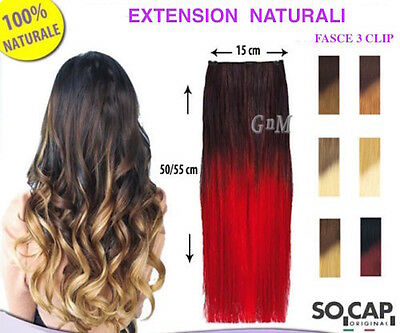 3 FASCE CLIP HAIR EXTENSION SHATUSH CAPELLI VERI NATURALI 50/55cm SOCAP ORIGINAL
