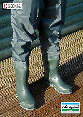 Shakespeare Sigma Felt Sole Nylon Hip Thigh Waders Sizes 7-12