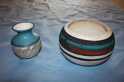 Navajo pottery signed vase and bowl