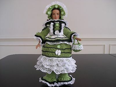 """DIANE'S 5 PIECE HANDMADE HAND CROCHET DOLL CLOTHES FOR 12"""" MARLEY WENTWORTH DOLL"""