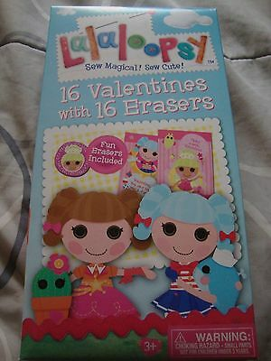 LALALOOPSY 16 VALENTINES WITH 16 MINI ERASERS + 16 ENVELOPES~NEW IN PACKAGE