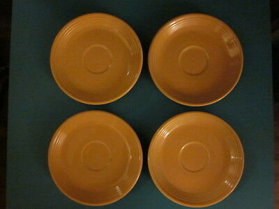 Lot of FOUR 4 Vintage Homer Laughlin FIESTA WARE HLC USA Yellow Saucers
