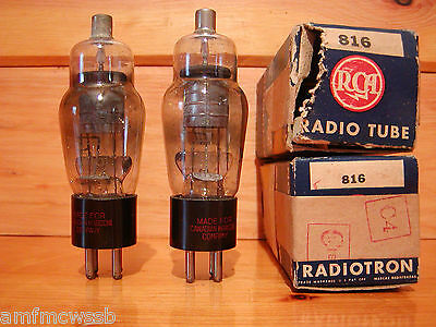 PAIR OF RCA MARCONI 816 RECTIFIER TUBES NOS
