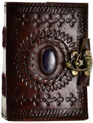 Stone Eye Leather Blank Book Journal Diary w/ latch
