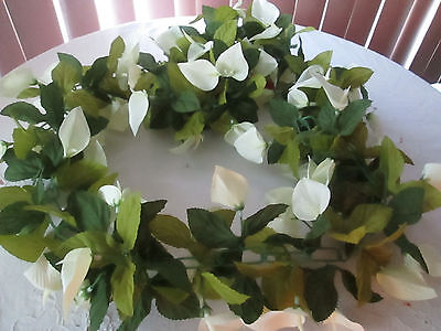 6 Ft. Silk Flower Lily Floral Garland, New Great for Easter & Spring