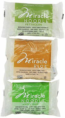 Miracle Noodle Shirataki Gluten Free Pasta, 6 bag Variety Pack, 44 ounces NEW