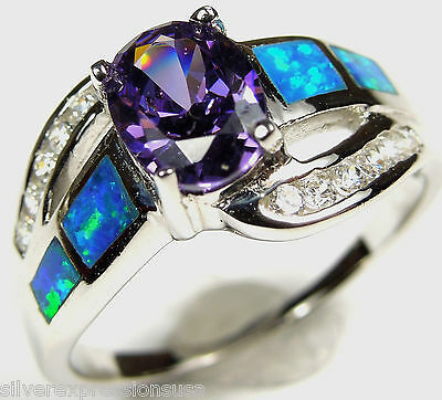 Amethyst and Blue Fire Opal Inlay Genuine 925 Sterling Silver Ring size 6,7,8,9