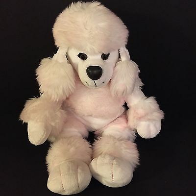 """Cute 18"""" Build a Bear Pink & White French Cut Poodle Puppy Dog Stuffed Plush"""