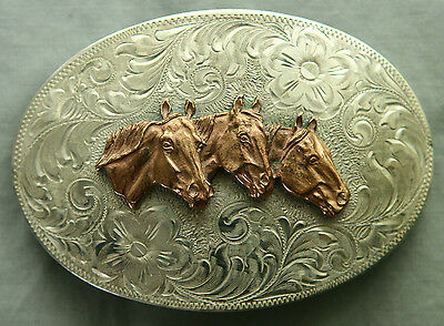 Vtg Comstock Cowgirl 3 Horse Heads Sterling Silver Western Belt Buckle