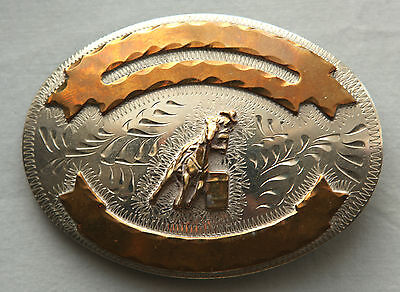 Vtg Cowgirl Horse Rodeo Hand Engraved Barrel Racer Western Flair Belt Buckle