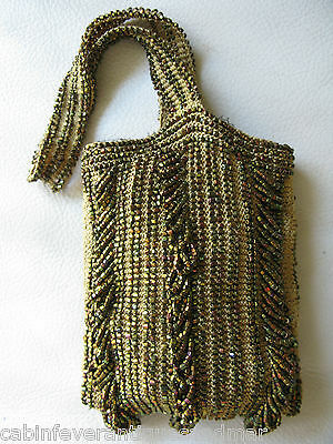 Vintage Art Deco Crochet Gold Brown Peacock Carnival Glass Bead Flapper Purse